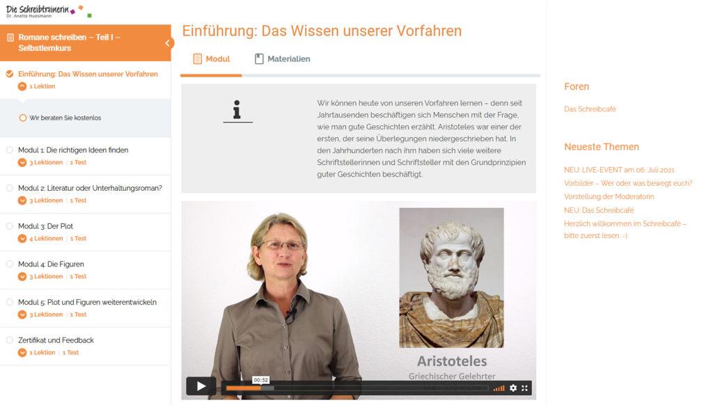 Screenshot Learndash Lernumgebung für Selbstlernkurs Romane schreiben